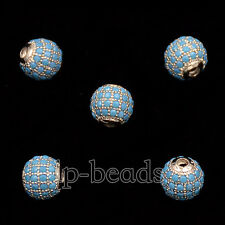 Multi Color Zircon Pave Micro Round Ball Rhinestones Bracelet Connector Beads