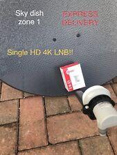 2017 LATEST ZONE 1 SKY DISH 60CM FREESAT SATELLITE SINGLE LNB 4K HD SKY+