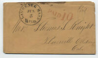 1850s Lawrence MA paid 10 california rate stampless [5246.342]
