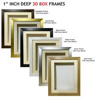 1 Inch Deep Shadow 3D Box Picture Frame - Ivory Mount