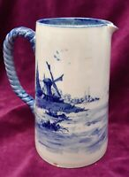 Antique Royal Doulton Burslem Norfolk  Victorian Blue & White Jug Pitcher 1895/6