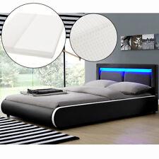 Ambiance Design en Cuir+LED Lit+Sommier+Matelas Double 180x200 à lattes bed L@@K