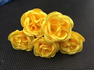 5 Bridal Wedding Sunny Yellow Rose Flower Hair Pins Clips Grips handmade