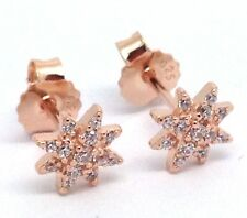 Star Cluster Rose Gold On Solid sterling silver Stud Earrings Cubic Zirconia. UK