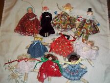 Vintage Lot 10 Hand Made Doll Christmas Tree Ornaments Clothespin & Wooden Heads