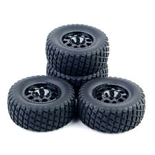 4Pcs Set Short Course Ruber Tires Wheel Rims For 1:10 RC TRAXXAS SlASH Car Truck