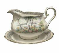 Royal Albert Silver Birch Gravy Boat & Under Plate Porcelain Bone China England
