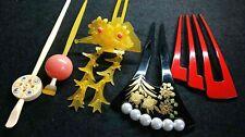 Vintage Japanese Kanzashi 5 items Pearl Makie Bira Kimono Hair Ornament #1377-2