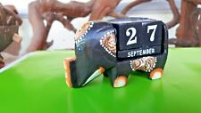 Wooden Handmade Elephant Perpetual Calendar Blocks Desk Ornament Tabletop Gift