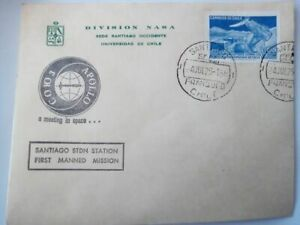 Chile 1975 Cover NASA Project Apollo Santiago Stdn Station First Manned Mission