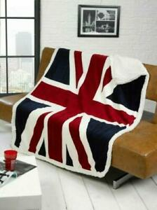 Luxury Union Jack USA Flag Cosy Fleece Sofa Bed Blanket Throw Sherpa Faux Fur