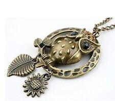 Art Deco vintage emo antique bronze black owl necklace