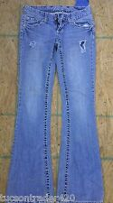 VANITY - BOOT CUT DISTRESSED STRETCH JEANS W/ WHITE STITCHING SIZE 24X33 #232