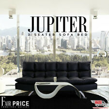 New Luxury Click Clack Contemporary PU Leather 3 Seater Jupiter Sofa Bed, Black