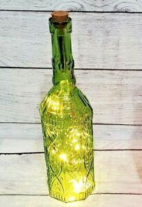 Large Green Press Glass Octagon Base Bottle with Cork & LED Lights