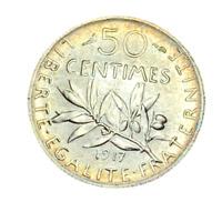 #3954 - RARE - 50 centimes 1917 Semeuse en Argent SPL/FDC - FACTURE