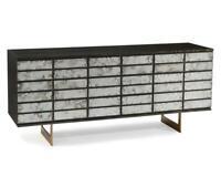 "75"" W Cabinet Low 9 Drawer Dresser Oak Veneer Gold Cerusing Antique Mirror Front"