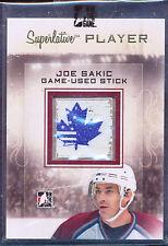2012-13 ITG SUPERLATIVE PLAYER JOE SAKIC GAME USED STICK 1/1 CANADA US LEAF LOGO
