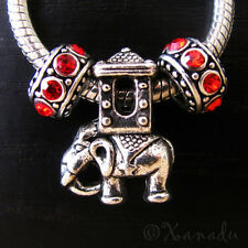 Lucky Asian Elephant Bead And Birthstone Spacers For European Charm Bracelets