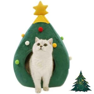Chirstmas Tree Cat House Green Portalbe Indoor Pet Beds for Kitten Cat Cave Tent