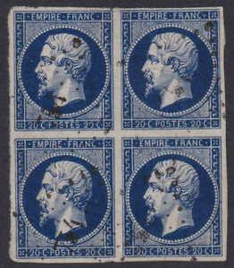 1853, 20c dark bleu, block of 4, Y&T/Maury #14, 4 large margins, some faults