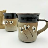 2 x  Studio Pottery Stoneware Mugs,  Salt Glazed 10cm Tall, Initials AS