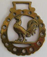 Vintage Horse Tack Brass Bridle Saddle Badge Ornament Rooster Farm Medallion