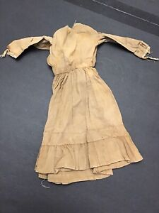 Antique Doll Outfit Dress Bisque German French Brown Ruffles