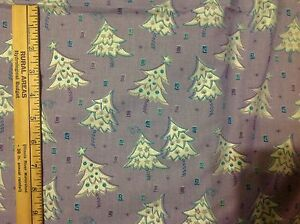 Shimmering Silver Polka doted Christmas Trees on Lavender  fabric by the 1/2 yd