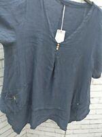 Lagenlook Linen Blue Dress Top? Baggy One Size V Neck Pockets Short Sleeves
