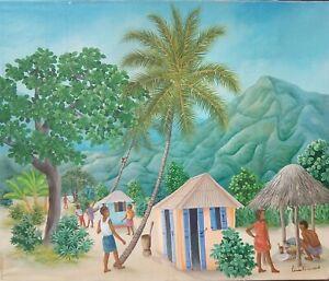 "LOVELY HAITIAN FOLKART OIL PAINTING BY CENEAC ROSEMOND ""VILLAGE"" 24""X20"" HAITI"