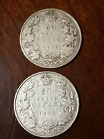 ➡➡1916/1917 lot Canada King George V 50 cents silver WWI wartime coins (2) F-VF