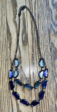 Coldwater Creek Sapphire Blue & Topaz Blue Statement Necklace