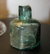 Victorian Blue Glass Circular Ink Bottle c.1890's