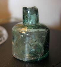 Victorian Blue Glass Circular Ink Bottle c.1890's