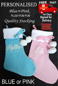 Baby Pink or Baby Blue Personalised/Plain CUTE Christmas stocking ANY NAME