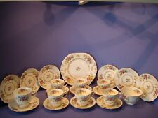 NEW CHELSEA  TEA SET 22 PIECES, FLORAL SPRAYS AND GILDED GARLAND PATTERN 3710A