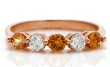 .73 Carat Natural Madeira Citrine & DIAMONDS in 14K Solid Rose Gold Woman Ring