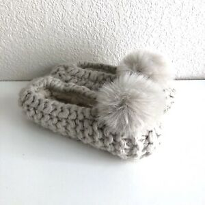 Nordstrom Chunky Knit Slippers One Size Fits Most Faux Fur Pom Pom Cozy Soft