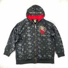 Avirex Retro Full Zip Hoodie Velvet, Black/Red, Size XL