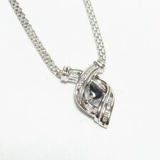 ALWAND VAHAN 10K White Gold 0.55 Ct Natural Blue Sapphire And Diamond Pendant