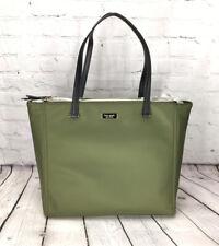 Kate Spade New York Tote Bag Dawn Nylon Purse Leather Trim Women Handbag Green