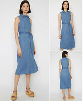Warehouse Denim Midi Shirt Dress with Tie Waist in Blue Sizes 6 to 18