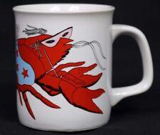 VTG Louisiana Mardi Craw Crawfish June Sobel Art Coffee Mug Cup New Orleans NOLA