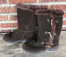 Womens sz 7.5 WHITE MOUNTAIN Brown Suede Leather Tall BOOTS Fuzzy Lined TRACKER
