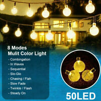 Solar Powered 50 LED String Light Garden Path Yard Decor Lamp Waterproof Outdoor