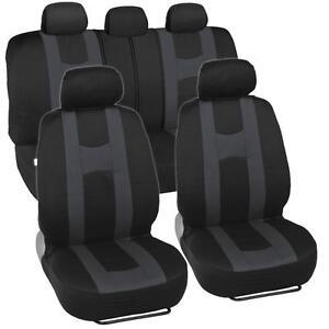 Charcoal Gray Stripe Black Car Seat Covers Auto Interior Racing Sport Mesh Cloth