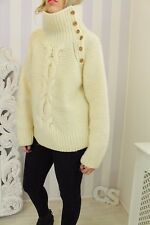 TOPSHOP Cream Chunky Knit Funnel Neck Aran Cable Knit Jumper 12 14 16 RARE
