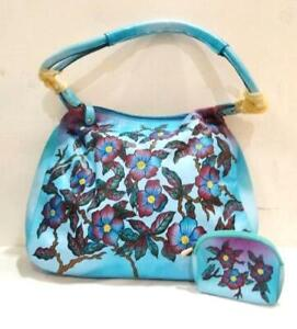EXCLUSIVE GENUINE LEATHER SHANTINIKETAN HAND PAINTED HANDBAG WITH COIN PURSE