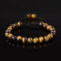 Tiger Eye Round Beads Inspired Bracelets Men Women Black Cord String Adjustable